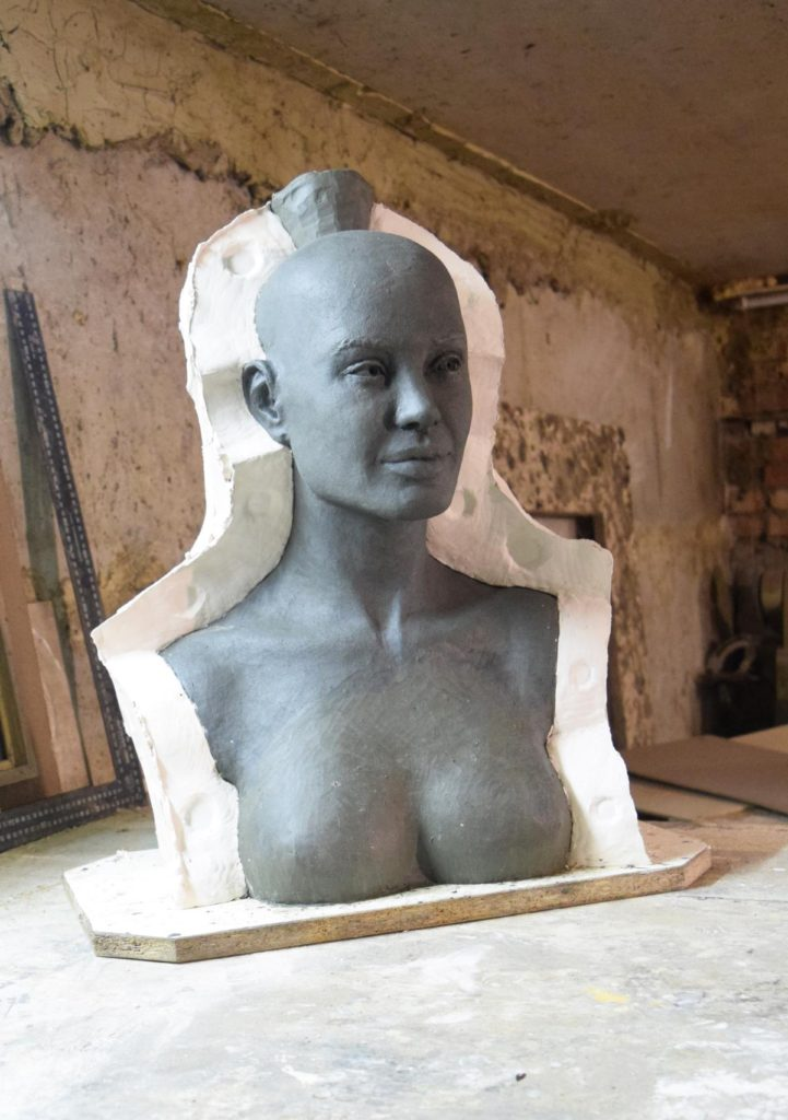 The manufacture of wax figures of Angelina Jolie