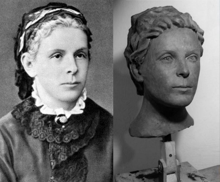 модель головы по фото из пластилина для восковой фигуры матери Ленина